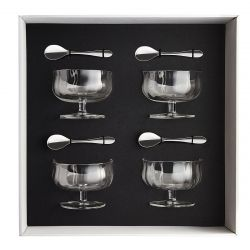 Gift box of 4 ice cups 25 cl heritage + 4 moka spoons onde mirror finish