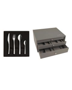 124 pieces solid handle serrated boxed set