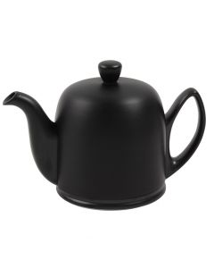 Tea pot 4 cups with black felt black aluminium lid