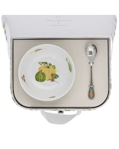 Suitcase round fruit bowl 13 cm + coffee spoon