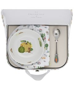 Suitcase round fruit bowl 13 cm + coffee spoon + bib