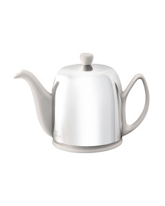 Tea pot 6 cups with linen body mirror finish lid
