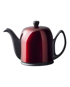 Tea pot 6 cups with black felt red lid