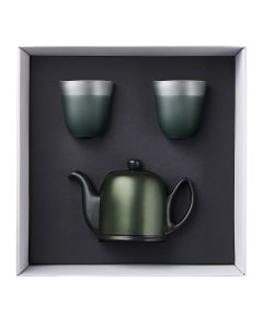 Gift box of tea pot 4 cups black felt emerald aluminium lid + 2 mugs 25 cl illusions far tree color