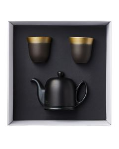 Gift box of tea pot 4 cups black felt black aluminium lid + 2 mugs 25 cl .8 oz 7/16 illusions red