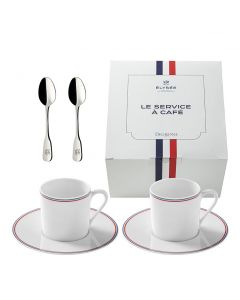 Gift box of 2 cups + 2 saucers + 2 moka spoons french republic