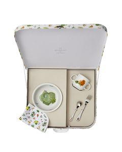 Suitcase round cereal plate 17 cm + mug 8 cm + fork + coffee spoon + bib