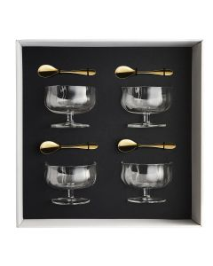 Gift box of 4 ice cups 25 cl heritage + 4 moka spoons onde gold