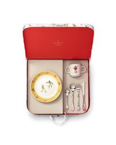 Suitcase round cereal plate 19 cm + mug 8 cm + 4 cutlery pieces
